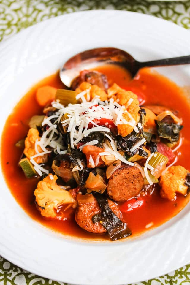 Hearty Fall Harvest Vegetable Chorizo Sausage Soup {Low Carb}
