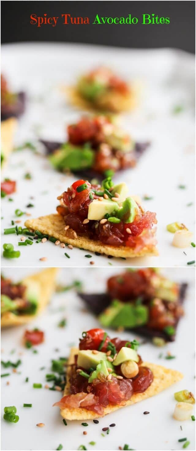 Spicy Ahi Tuna Avocado Tartare Bites are easy to make for a healthy ...
