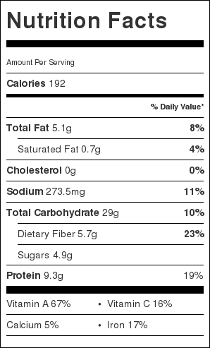 Greek Lentil Soup Nutrition Label