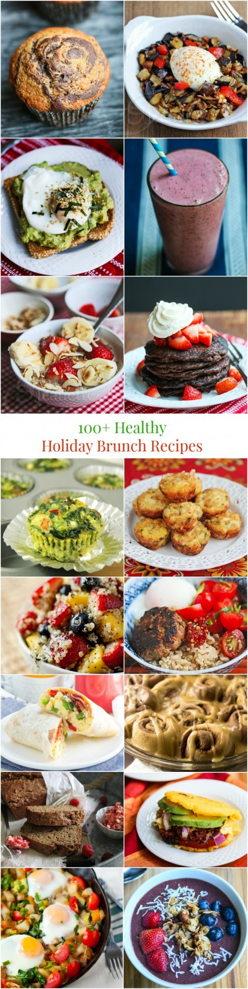 100+ Healthy Holiday Breakfast and Brunch Recipes - Pin this to save this HUGE collection of brunch recipes...pancakes, french toast, breakfast casseroles, hashes, international breakfast foods, smoothies and more!