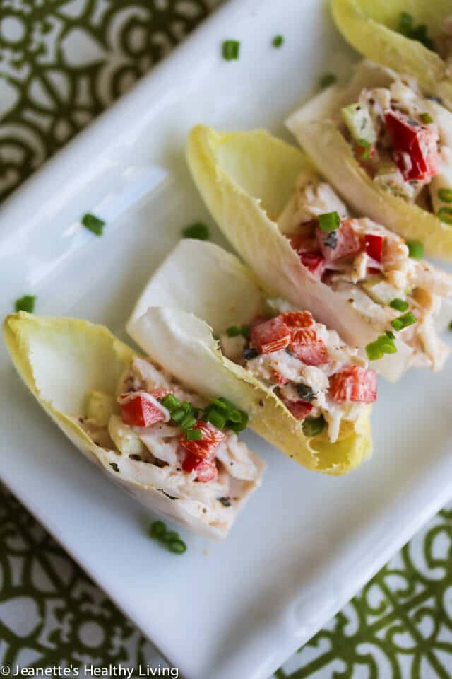 Endive Leaves Stuffed With Old Bay Crab Salad - this is an elegant and easy holiday appetizer that will WOW your guests! http://jeanetteshealthyliving.com
