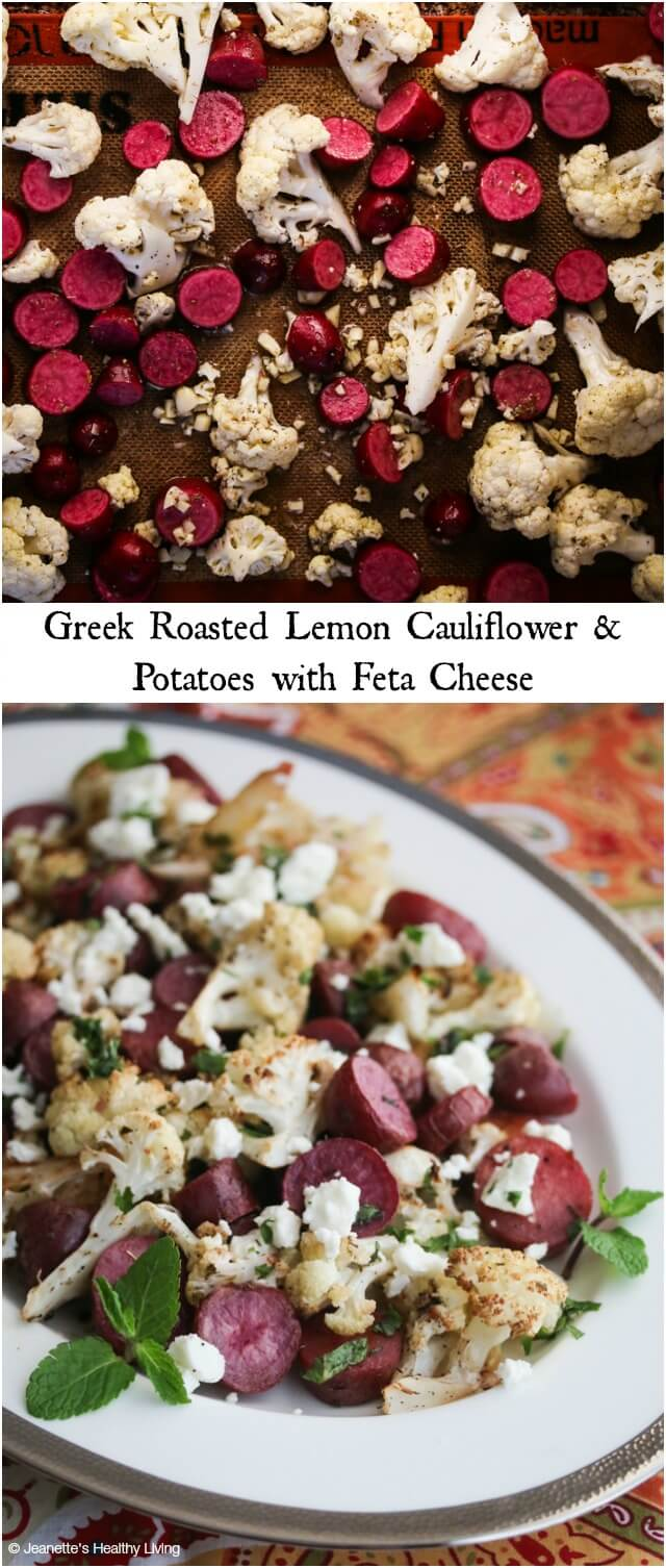 Roasted Greek Lemon Cauliflower and Potatoes with Feta Cheese - so easy and delicious, you'll want to add this to your side dish repertoire