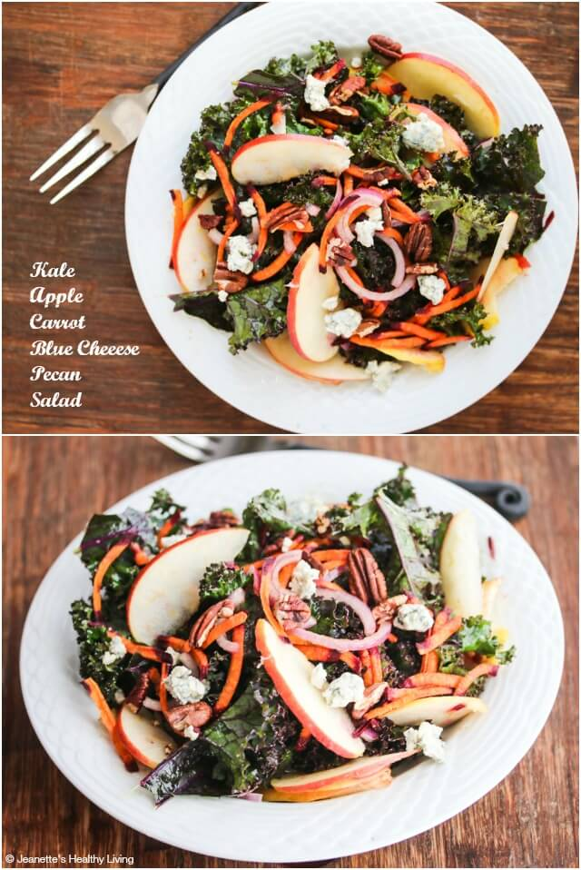 Kale Apple Carrot Blue Cheese Pecan Salad