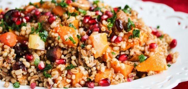 Roasted Butternut Squash Fig Pomegranate Whole Grain Salad Recipe