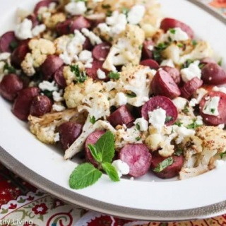 Greek Roasted Lemon Cauliflower and Potatoes with Feta Cheese