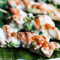 Thai Chicken Skewer Appetizers with Sweet and Spicy Chili Sauce - these were a huge hit at our cocktail party - the marinade is delicious and the sweet and spicy chili sauce goes perfectly