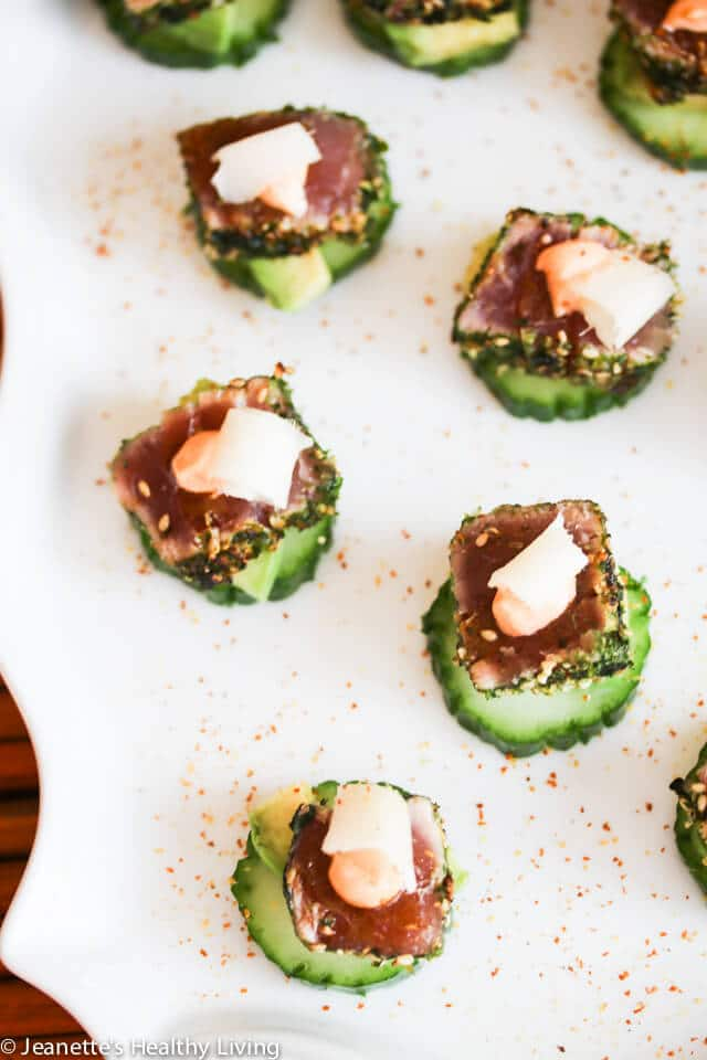 Spicy Ahi Tuna Cucumber Avocado Appetizers with Pickled Ginger - I made these for our holiday cocktail party and they were the biggest hit of the night! http://jeanetteshealthyliving.com