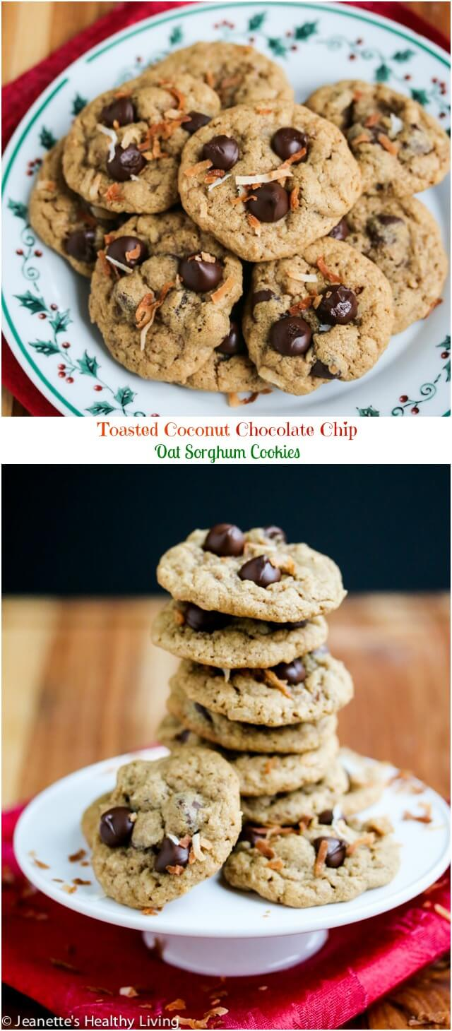 Toasted Coconut Chocolate Chip Oat Sorghum Cookies - these are a wonderful addition to your holiday cookie tray - they're healthy and naturally gluten-free too!