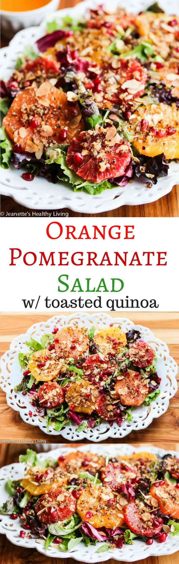 Orange Pomegranate Salad with fennel pollen and toasted quinoa - festive and delicious holiday salad