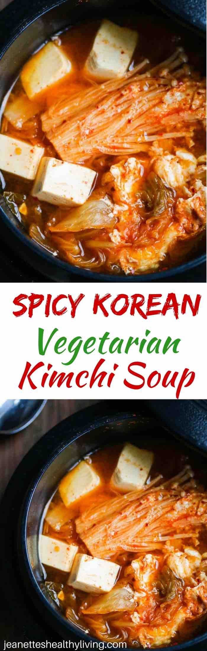 Spicy Kimchi Tofu Mushroom Egg Soup - great way to warm up your belly on a cold winter day. Korean kimchi and gochujang spice up this vegetarian soup, and tofu and egg provide the proteins.