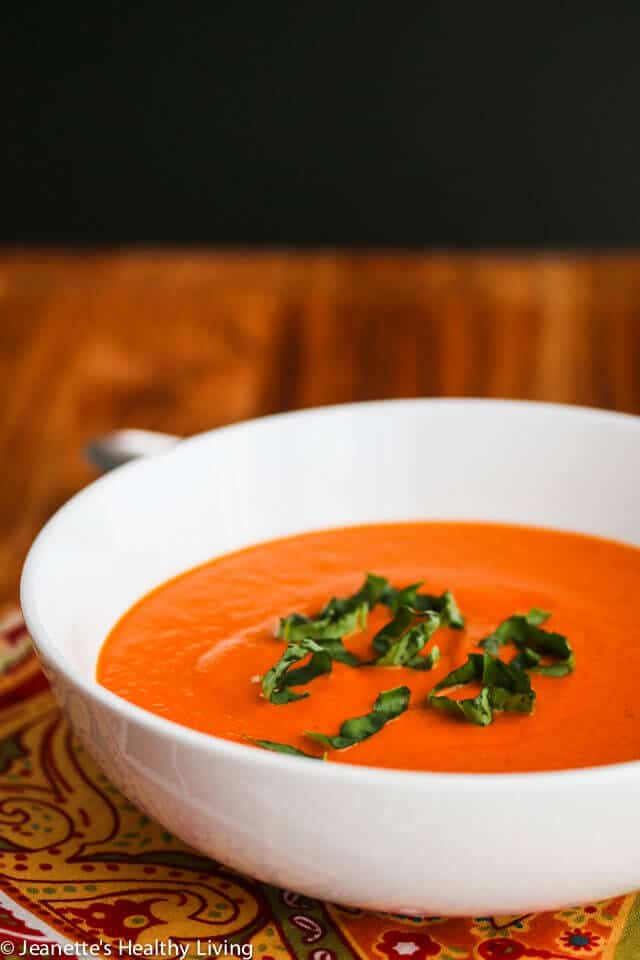 Copycat Panera Bread Creamy Tomato Basil Soup - so creamy and delicious, just like Panera's!