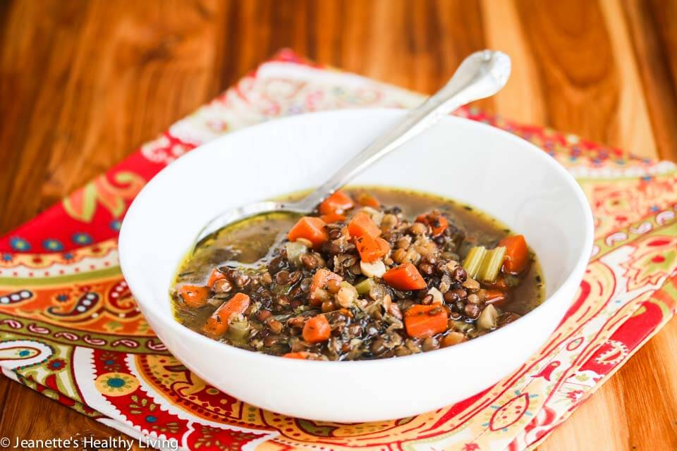 Slow Cooker Lentil Smoked Ham Soup - Jeanette's Healthy Living