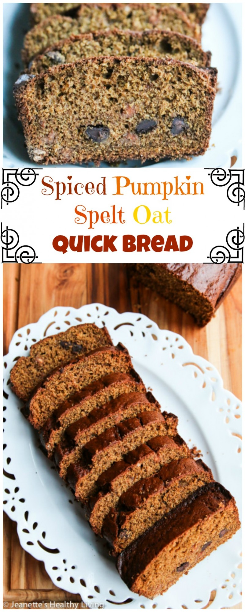Spiced Pumpkin Spelt Oat Quick Bread - perfect for breakfast or tea, this quick bread is made with whole grain spelt, oat flour and flaxseeds