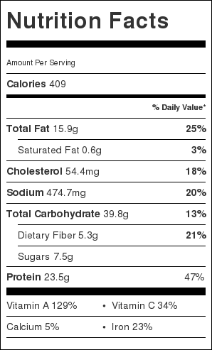 Chinese Curry Chicken Nutrition Label