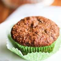 Banana Chocolate Chip Oat Flaxseed Almond Muffins - these healthy muffins use flaxseed to replace half the oil in the typical recipe