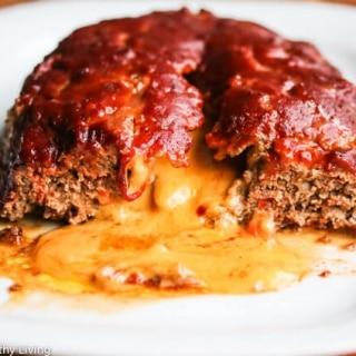 Cheese Stuffed Turkey Quinoa Mushroom Meatloaf with Sriracha Barbecue Sauce