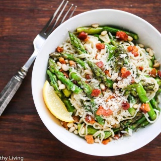 Pasta with Asparagus Pancetta and Pine Nuts (Gluten-Free, Low Carb)