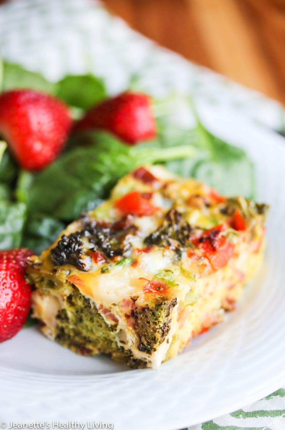 Roasted Broccoli Red Bell Pepper Pancetta Breakfast Casserole - great for a crowd at brunch!