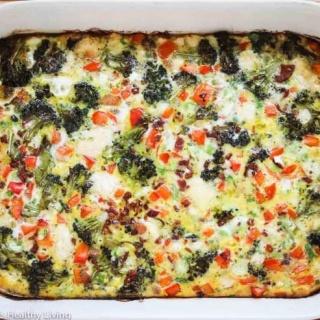 Roasted Broccoli Red Bell Pepper Pancetta Breakfast Casserole Recipe