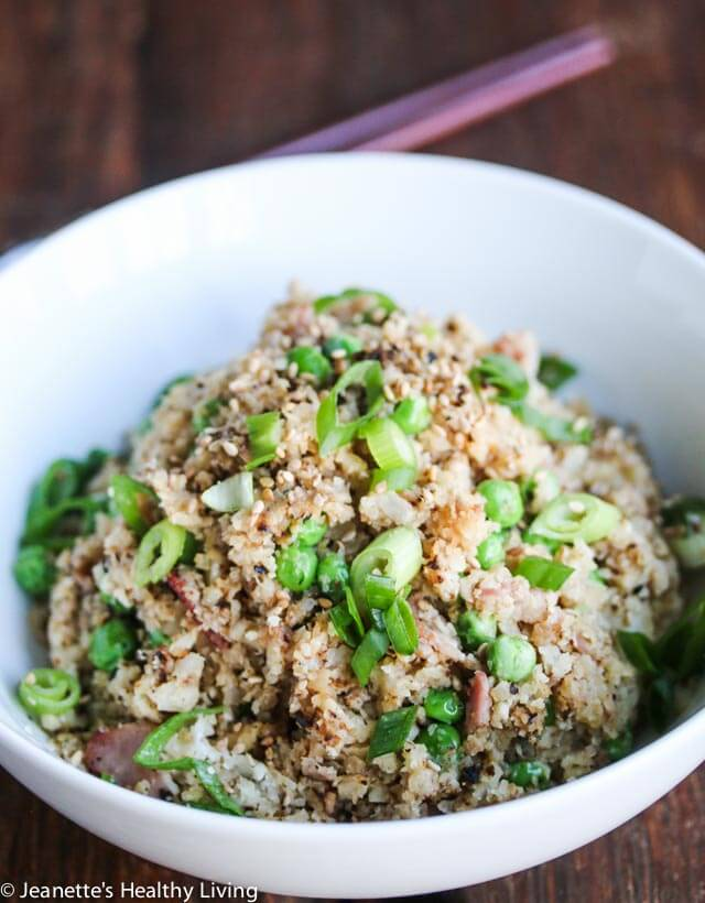 Bacon Cauliflower Garlic Fried Rice - This is a low-carb, healthy and delicious version of Filipino garlic fried rice