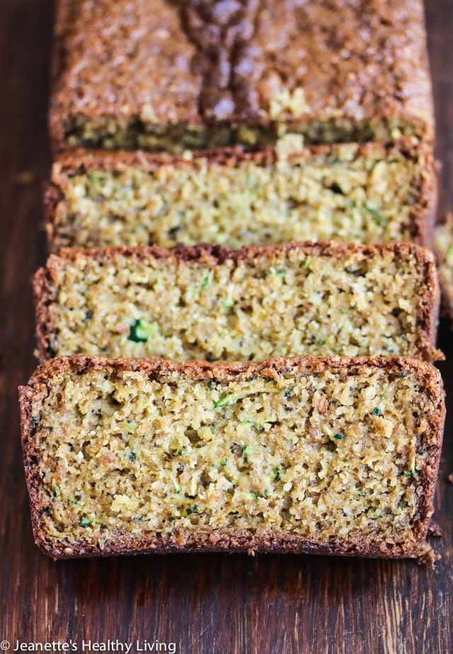 Gluten Free Lemon Zucchini Bread - this lemon scented quick bread makes a healthy snack or breakfast bread. Made with oat flour, almond flour and flax seeds, this quick bread is healthy and delicious.