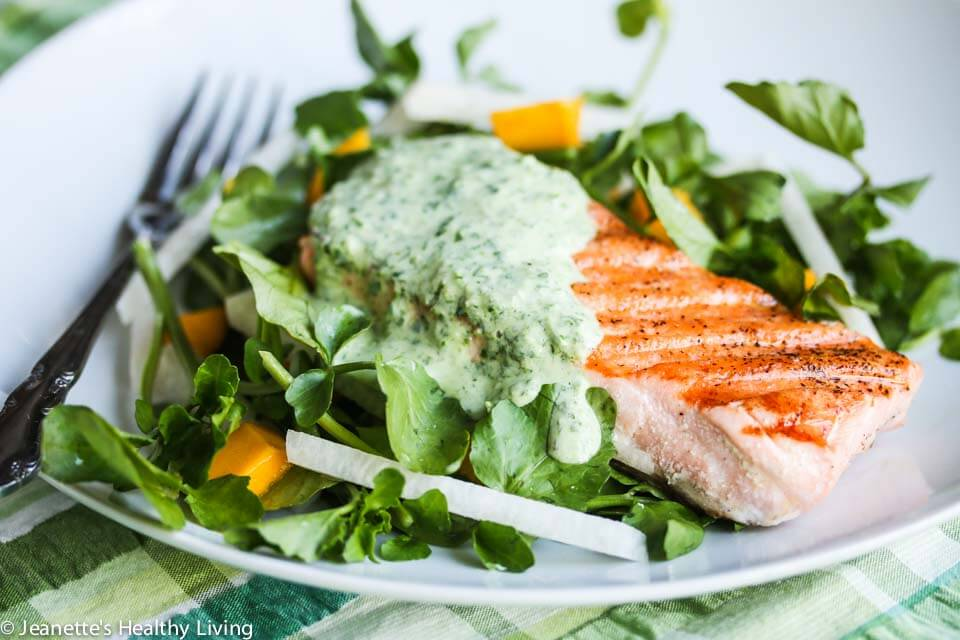 Grilled salmon with herb yogurt sauce recipe jeanette 39 s for Yogurt sauce for fish