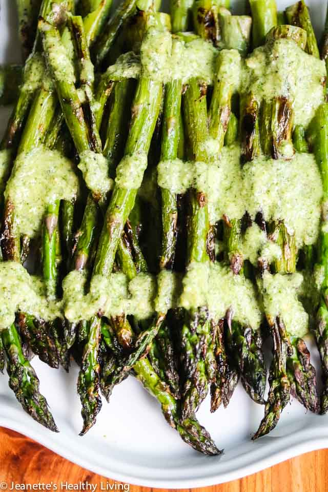 Grilled Asparagus with Mint Feta Pesto