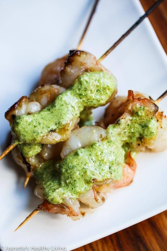 Grilled Shrimp with Mint Feta Pesto