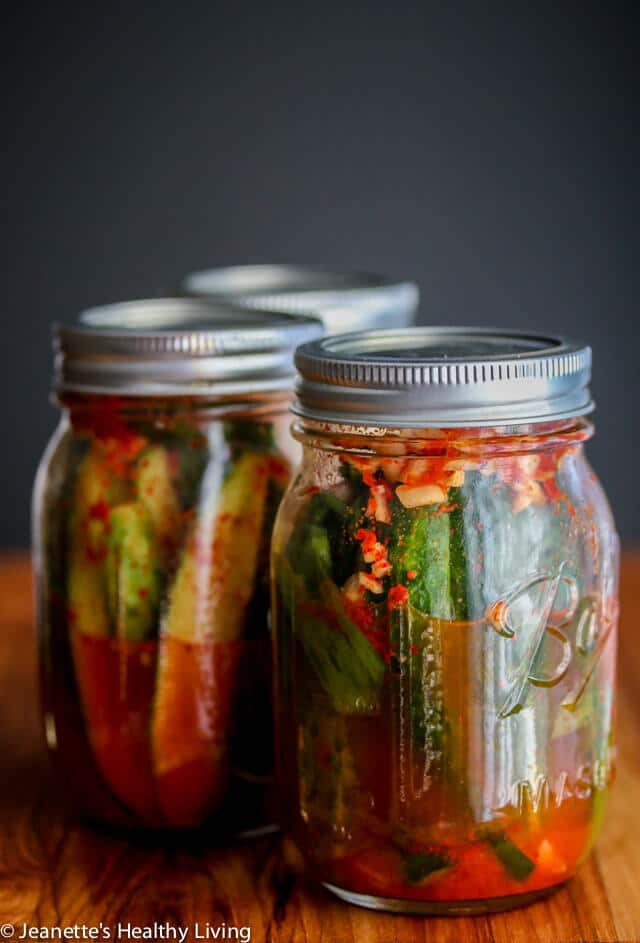 Spicy Korean Cucumber Kimchi Refrigerator Pickles - spicy and a little sour, these pickles are easy to make - I leave them out on the counter to ferment for one day, then refrigerate them