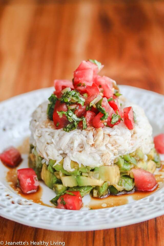 Crabmeat Avocado Tomato Basil Appetizer with Wasabi Soy Dressing - Impress your guests with this beautiful presentation. It's easier than it looks. The wasabi soy dressing spices things up a bit. Serve as an individual appetizer or as a more casual appetizer with tortilla chips