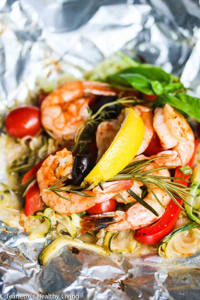 Grilled Mediterranean Shrimp and Zucchini Noodles in a Packet - this is an amazingly simple and delicious meal, all cooked on the grill in a little foil wrapping. Low carb and healthy too.