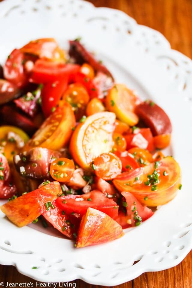 Summer Tomato Salad with Sherry Vinegar Shallot Dressing - this simple tomato salad features heirloom tomatoes at their peak ~ http://jeanetteshealthyliving.com
