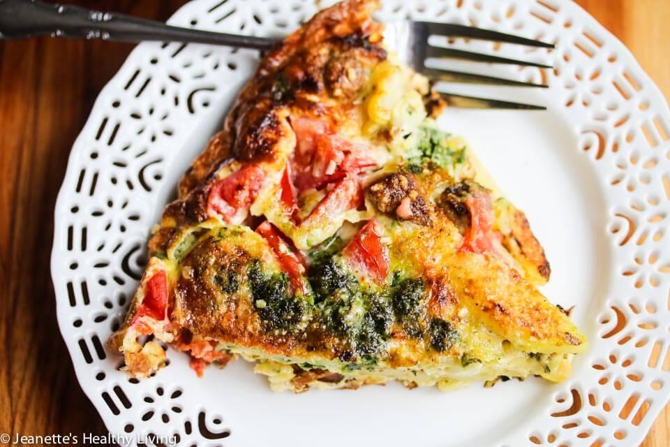 Tomato Corn Potato Sausage Pesto Frittata Recipe - Jeanette's Healthy ...