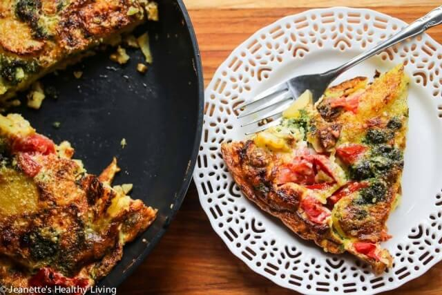 Tomato Corn Potato Sausage Pesto Frittata - this is perfect for breakfast or brunch ~ full of summer produce, this frittata is healthy and delicious
