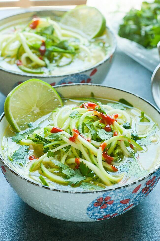 Spicy Sriracha Lime Chicken Zoodle Soup - a great way to use up leftover chicken