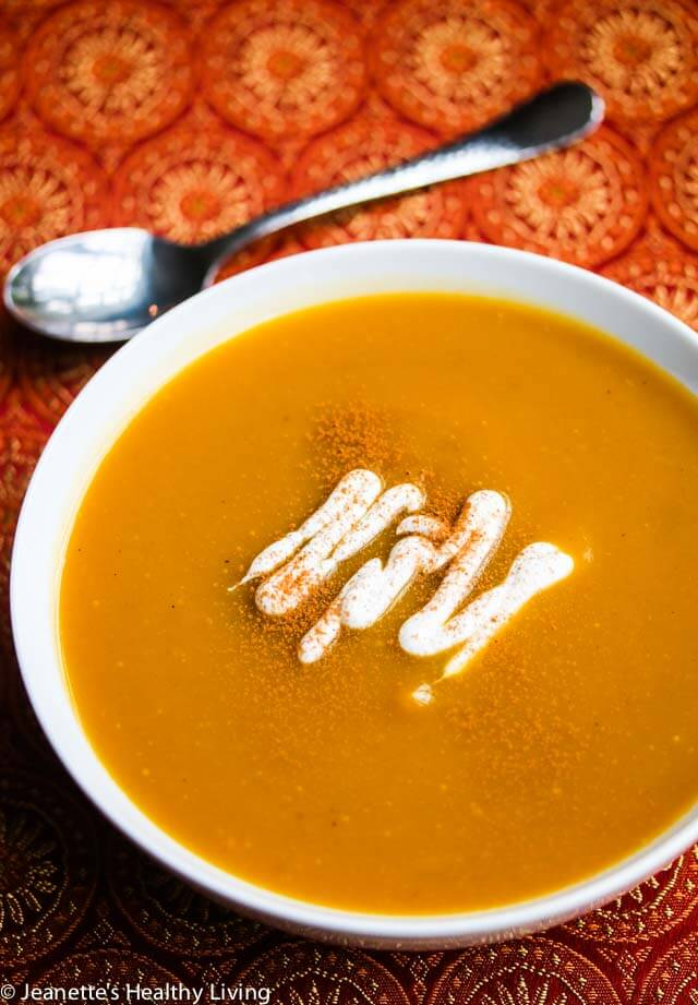 Spiced Butternut Squash Soup - this quick and easy soup recipe is healthy, delicious and happens to be vegan. Perfect for Fall and Thanksgiving menus.
