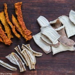 Healthy Homemade Dehydrated Dog Treats- turkey, sweet potatoes, carrots and celery from making turkey stock are pureed and then dehydrated; banana slices and sweet potato slices are also dehydrated