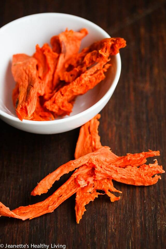 Healthy Homemade Dehydrated Dog Treats - turkey, sweet potatoes, carrots and celery from making turkey stock are pureed and then dehydrated; banana slices and sweet potato slices are also dehydrated