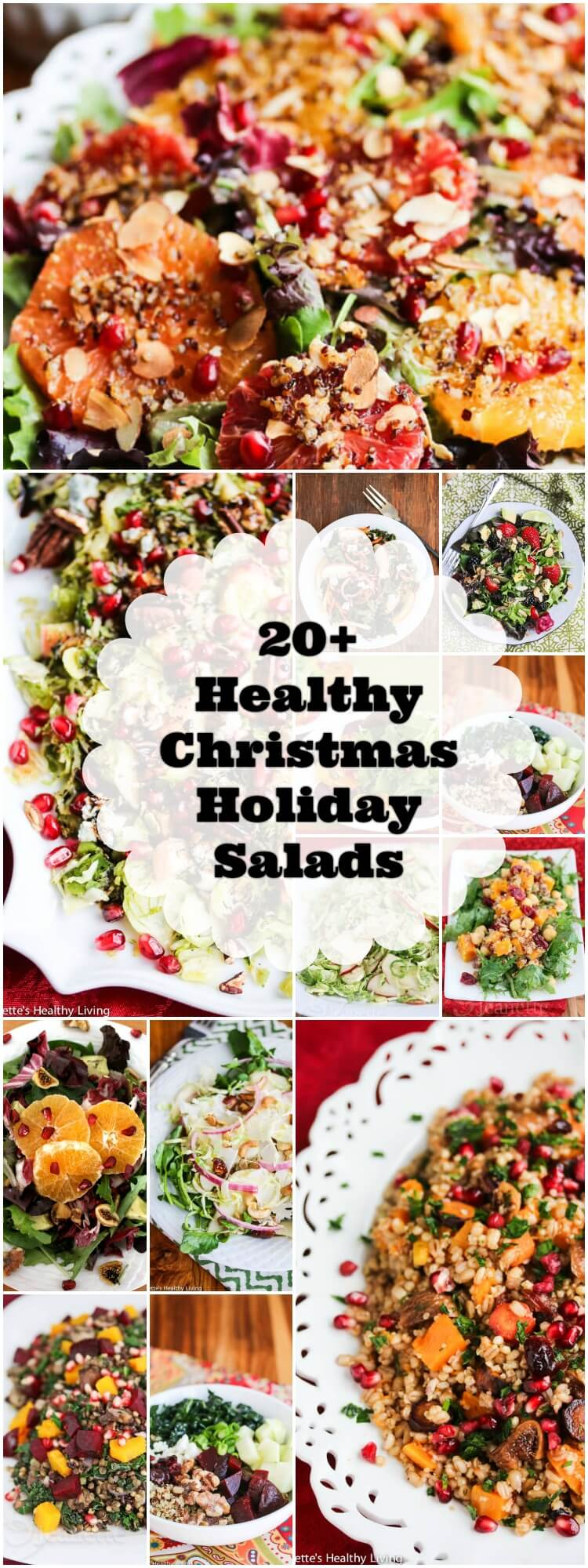 Healthy Christmas Holiday Salad Recipes - lighten up your Christmas holiday menu with one or more of these festive healthy salad recipes