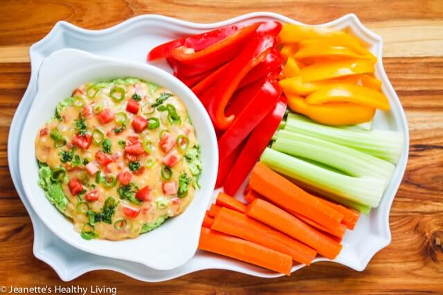 Skinny Queso Cheese Guacamole Dip - no guilt with this lightened up double layer dip, perfect for gameday
