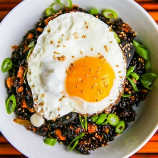 Kimchi Fried Forbidden Rice with Black Garlic Recipe