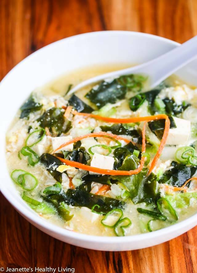Miso Soup with Tofu, Wakame Seaweed, Rice and Egg - this is a Japanese ...