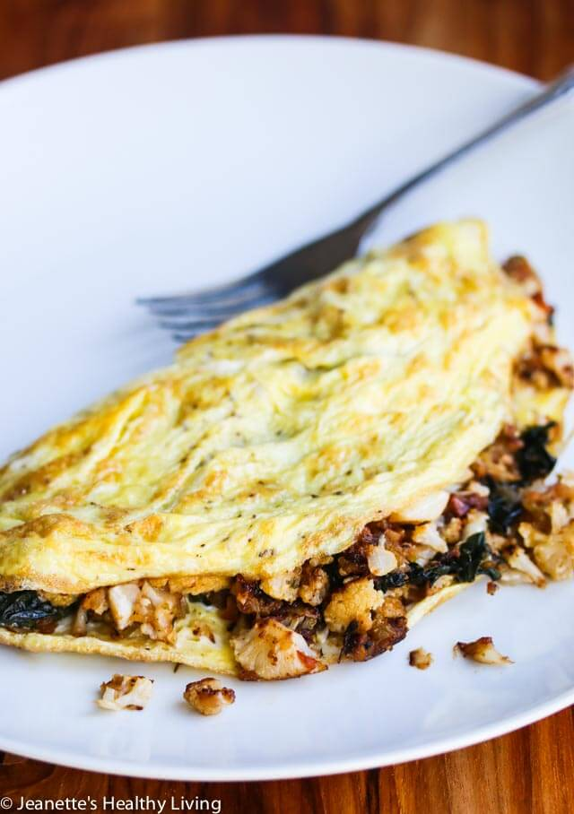 Omelet with Roasted Vegetables - this healthy breakfast is low-carb, gluten-free, dairy-free and vegetarian. It can be enjoyed as part of the Daniel Plan meal plan