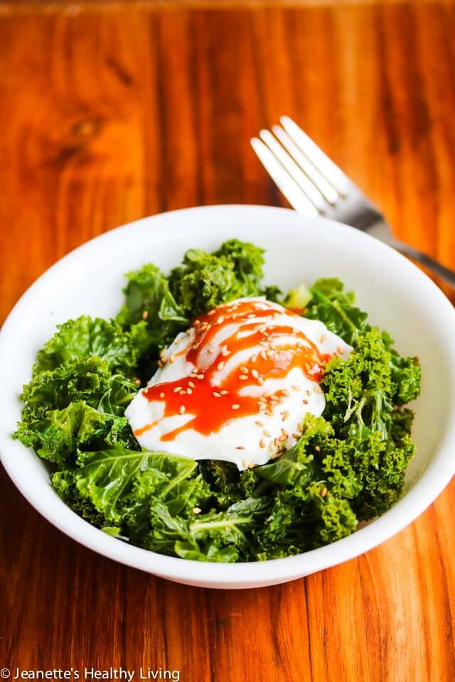 Steamed Kale with Poached Egg and Sriracha Sauce - this simple breakfast is healthy, low carb, gluten free, dairy free and vegetarian. This can be enjoyed as part of the Daniel Plan meal plan.