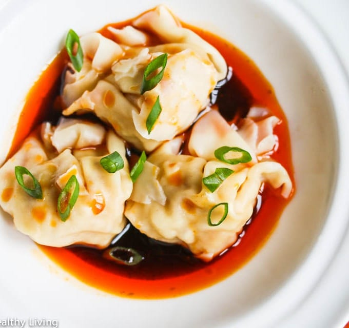 Szechuan Red Chili Oil Wontons - the sauce tastes just like the one I have at my favorite Chinese restaurant