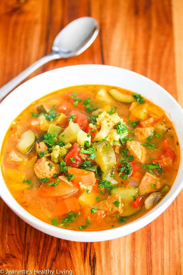 Daniel Plan Vegetable Lentil Chicken Sausage Soup - this soup is packed with healthy ingredients - turmeric, lots of fresh vegetables, lentils and some chicken sausage for flavoring