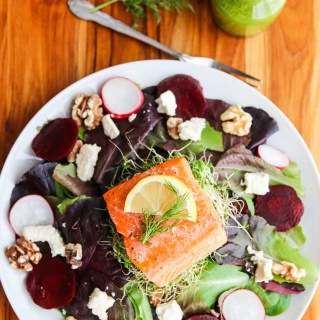 Salmon Beet Feta Salad with Dill Flaxseed Dressing - this is a healthy delicious main course salad - the dill dressing is the key to this salad!
