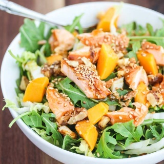 Asian Salmon Arugula Napa Cabbage Mango Salad with Candied Walnuts Recipe