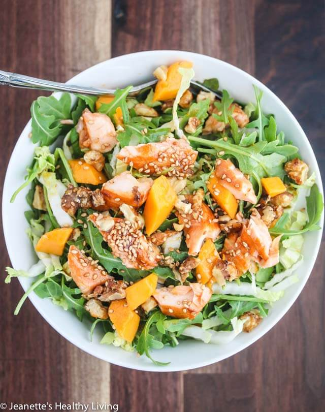 Asian Salmon Arugula Napa Cabbage Mango Salad With Candied Walnuts This Salad Is Deliciously Light