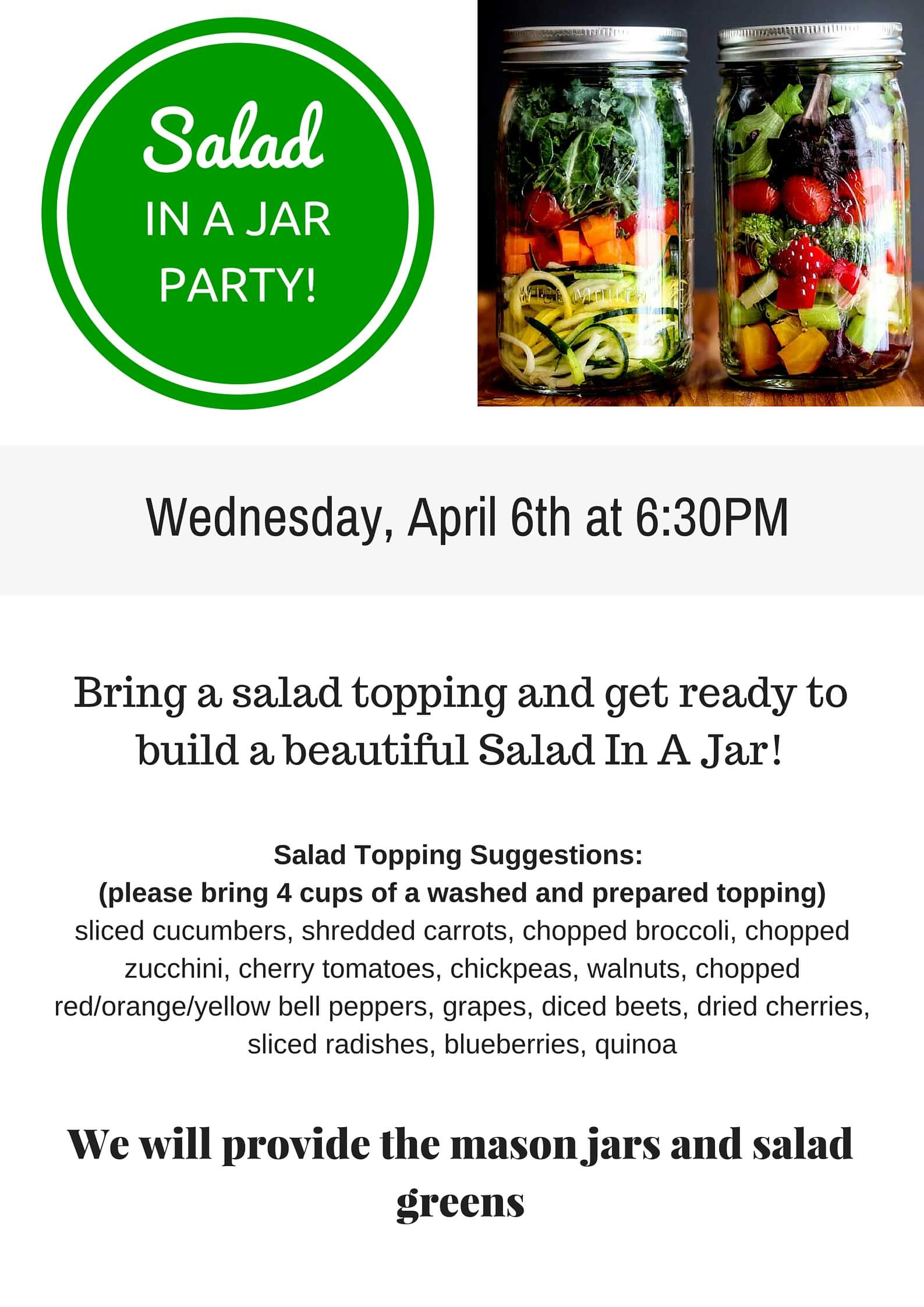 How To Host A Salad In A Jar Party - Get all the instructions you need to plan this fun group activity for your next girls night out